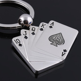 Wholesale Straight Flush Key Rings Poker Key Chain Bag Decoration Key Jewelry Toy Cards car Key Ring Jewelry