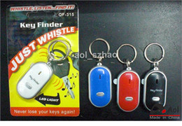 Wholesale 5 Pieces LED Key Finder Locator Find Lost Keys Chain Keychain Whistle Sound Control Avoid the loss of key Blister card retail packaging