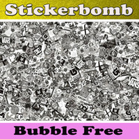 vinyl sticker - StickerBomb Vinyl Black White real Logos JDM Skateboard Snowboard Custom Vinyl Wrapping Car wrap sticker bombing with Air drian x30m