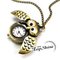 Wholesale Bronze Cute Open Close Wing Owl Pendant Necklace Chain Quartz Pocket Watch Gift GR3