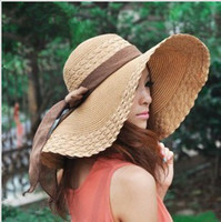 Blue women straw hats - 2014 new Free Retail Fashion Women Wide Large Brim Floppy Summer Beach Sun hat for women Straw Hat Cap with big bow