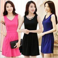 Wholesale 2014 Summer Women Top Fashion V Neck Sleeveless Button Empire Waist Slim Wiggle Pencil Casual Dress Plus Size S M L XL XL