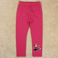 Wholesale frozen baby leggings nova brand new girls leggings pink cartoon Anna print kids plain tights cotton spandex children long pants G5238