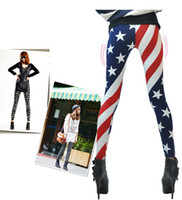 Wholesale 10PCS of leggings cheap retailer New Fashion Women pants USA Flag Striped Legging popular girl spring summer pattern leggings woman