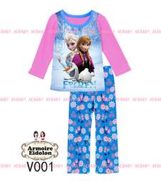 Wholesale 2014 newest Girls Frozen Princess Pajamas Sets Kids Autumn Clothing Set long sleeve frozen Casual Pyjamas