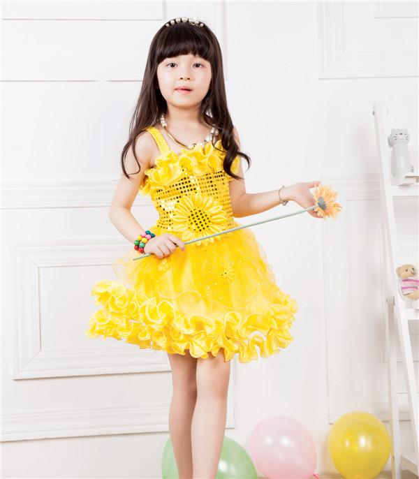 Cute Baby Girl in Yellow Dress Princess Baby Dresses Girl