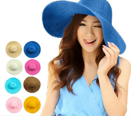 Wholesale Silver Wide Brim Hat - Free shipping 1pcs sun hats Fashion Women Wide Large Brim hats Floppy Solid Summer UV Protection Beach Sun Straw Hat Dome Cap straw sun hat