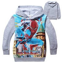 Wholesale 9 off in stock Spider Man Printing Boys Hooded Terry pullover sweater Autumn kids clothes drop shipping hot sale on sale TM