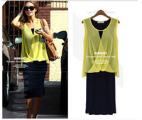 Wholesale 2014 Fashion Ladies Sexy yellow US Sleeveless Chiffon Oneck dress one piece Casual Quality Brand Designer Tops