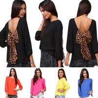 3/4 Sleeve Chiffon Chiffon blouse Fashion Sexy Women's Backless Chiffon Blouse with Leopard Bowknot Puff-Sleeved Chiffon Blouson Tops S M L XL XXL 0711
