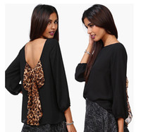 3/4 Sleeve Chiffon Chiffon blouse Women's Backless Chiffon Blouse with Leopard Bowknot Puff-Sleeved Round Collar Chiffon Blouson Tops S M L XL XXL 0711