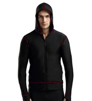 Wholesale Cool Men s wetsuit surfing Clothes wetsuit top vest S XXL swimsuit Hooded Sunscreen jacket