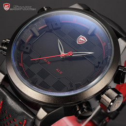 Wholesale New Shark Series Analog Digital Dual Display Multiple Time Zone Black Red Stainless Steel Case Leather Strap LED Watch SH203