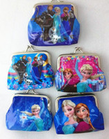 Wholesale Girls D Cartoon Frozen Coin Purse with iron button Anna Elsa Olaf shell bag wallet Purses children child Gifts For Holidays Christmas