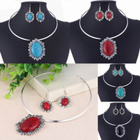Wholesale Fashion Necklace Earrings Set Imitation Stone Oval Pendant Necklace Earrings Jewelry Sets TL9152