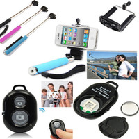 Wholesale 3in M Wireless Bluetooth Selfie tool Remote Camera Control Phone Clip Camera Monopod For iPhone Samsung Android IOS Set