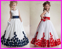 Girl baby blue ribbons - Lovely Princess Beaded Flowers Long Sleeveless Baby Flower Girl Dresses