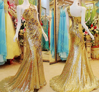 Wholesale 2015 Gold Luxury Crystal China Dress One Shoulder Sleeveless Mermaid Court Train Applique Beads Lace Up Sequins Pageant Evening Dress