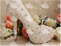 Wholesale 2014 glass slipper wedding shoes diamond white pearl flower Duolei Si shoes wedding bridal shoes Item