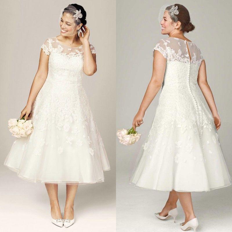 discount plus size wedding dresses tea length bridal gowns