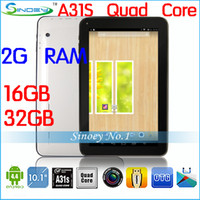 Wholesale NEW quot Kitkat Android Quad Core Tablet PC Allwinner A31S Dual Camera tablets with Bluetooth Capacitive Touch GB G GB Laptop
