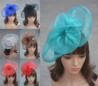 Wholesale A134 Ladies Sinamay Feather Wedding Bridal Cocktail Hat Fascinator Party Church color