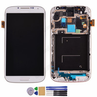 Wholesale white and blue LCD Assembly Display Touch Screen with Digitizer and frame tools For Samsung Galaxy S4 i9500 i9505 i337