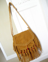Wholesale Fashion women faux suede fringe flap across body bag tassel beads trims shoulder handbag boho tribal exotic messenger bag
