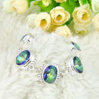 2PCS Lot High Quality Oval Shaped Mystic Topaz Gemstone Chai...
