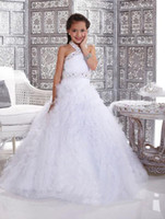 Wholesale 2014 diamond A Line white Halter Ball Gowns bridesmaid Kids Children Flower Girl Pageant dress Formal Dance Party Prom Wedding Dresses