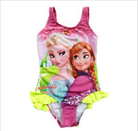 One-piece swimwear - New Arrival Ice Snow Baby Kids One Piece Swimwear Good Quality Elsa Anna Princess Girl Swimsuit Cartoon Children Swim Wear GX667
