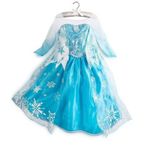 Wholesale Girls Dresses Frozen long sleeves Fall dress girl party dress anna princess costume baby girls elsa dress snow frozen dress Fedex melee