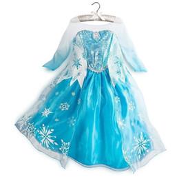 Wholesale Girls Dresses Frozen long sleeves Fall dress girl party dress anna princess costume baby girls elsa dress snow frozen dress Fedex melee