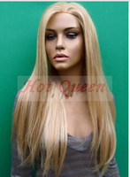 Cheap Blonde Long Silky Straight wigs Best Brazilian hair Straight Full Lace Wig
