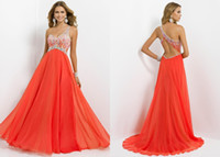 Wholesale 2014 New A Line One Shoulder Chiffon Blush Evening Dresses Backless Rhinestone Beads Sleeveless Floor Length Prom Dress Pageant Gowns