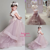 2014 hot flower girls dresses off shoulder hand made flower ...