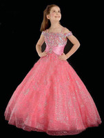 Girl best price wedding dress - Best Price Beaded Out Shoulder Pink Princess Flower Girl Dresses