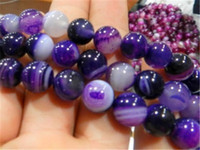 Round acrylic striped beads - Natural AAA mm Striped Purple Agate Onyx Loose Beads inch ppuityr