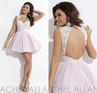 Reference Images baby blue cocktail dresses - Custom Backless Cocktail Gowns New Rachel Allan Hollow High Neck Lace Crystal Baby Pink Tulle Sexy Short Homecoming Dresses DL12792