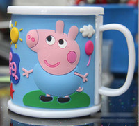 Wholesale Best Selling In Stock Children Peppa Pig Tooth brushing Cup Tea Cup Capacity ml Double deck Cup High Quality PVC PP White Red Blue M0300