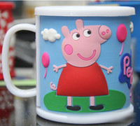 Wholesale 12pcs Hot In Stock Children Peppa Pig Tooth brushing Cup Tea Cup Capacity ml Double deck Cup High Quality PVC PP Three Color M0301