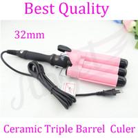 Pink barrel waver - piece mm Pink Ceramic Triple Barrel Waver with EU AU US UK outlet digital hair curler Hair Curling Iron