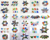 Pendant Necklaces glass pendant - FREE EMS style Flower D Murano Glass Pendants Necklaces