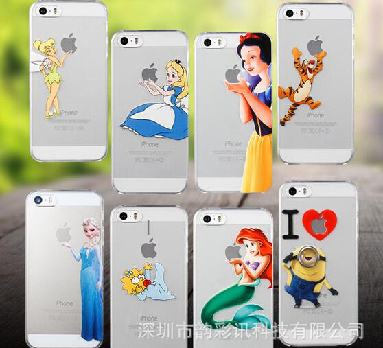Buy Cell Phone Hard Case iPhone 4S 5S 6 plus Princess Snow White Mermaid Minion Spiderman Logo Clear Shell 2mix design