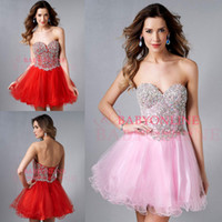 Reference Images Tulle Sweetheart 2014 Pink Sweetheart Ball Gown Bling Homecoming Dresses Crystal Beaded Corset Graduation Dress Red Cocktail Gowns Short Prom Gown E450
