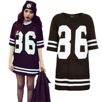 Casual Dresses Round Knee Length Ladies Celebrity Oversized 86 American Baseball Tee Dress Top Varsity Short Sleeve Loose Dress Black