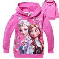 Girl Spring / Autumn Hooded Frozen Baby Girls 2-8Yrs Elsa Anna Princess Hoodie 2 colors Long Sleeve Terry Hooded Jumper Cartoon Hoodies Outerwear Kids Clothing