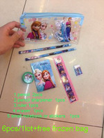 Wholesale Factory price free Snow princess stationery set for Students Office School Supplies Pencil Cases Bags Ruler Pencils
