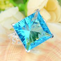 bulk - 2pcs Bulk Price Christmas Gift Sterling Silver Square Sky Blue Topaz Gems Ring R0164