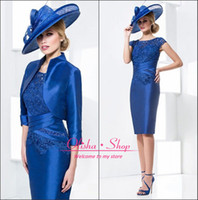 Wholesale 2014 New Arrival Mother Of The Bride Dresses With Jacket Sleeve Short Dress Groom Wedding Occasion Formal Dresses For Women